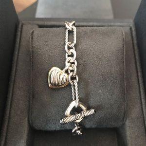 David Yurman Two-Tone Figaro Heart Charm Bracelet